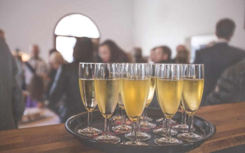 Champagne at a networking event